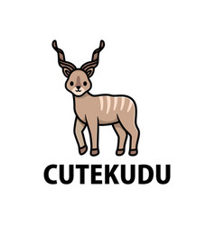 Cute kudu cartoon logo icon vector