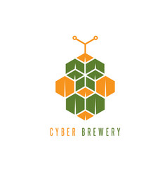 cyber brewery concept with abstract hop vector image