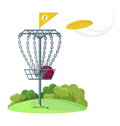 disc golf basket with yellow flying frisbee disk vector image