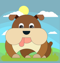 dog in cartoon flat style on the background of vector image
