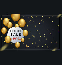 End year sale 50 off background template vector