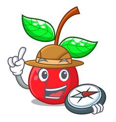 Explorer cherry fruit in a cartoon bowl vector