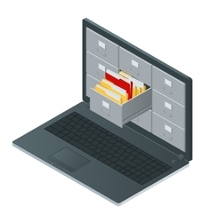 File cabinets inside screen laptop computer vector