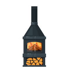 Fireplace or hearth with burning firewood and pipe vector
