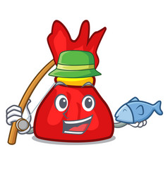 Fishing wrapper candy mascot cartoon vector