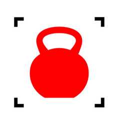 Fitness dumbbell sign red icon inside vector
