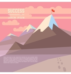 Flag on mountain success business vector