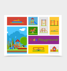 flat kids playground composition vector image