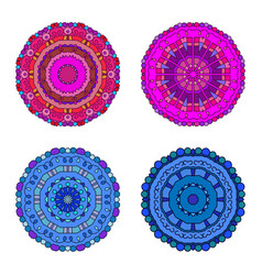 Floral emblems round decorative ornaments vector