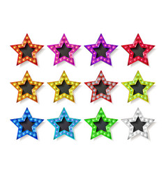 full color gold star icons vector image