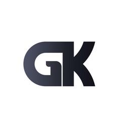 gk g k black initial letter logo design bold vector image