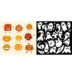 Halloween Pumpkin and ghosts Set vector