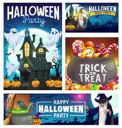 Halloween pumpkins ghosts wizard and candies vector