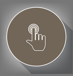 hand click on button white icon on brown vector image