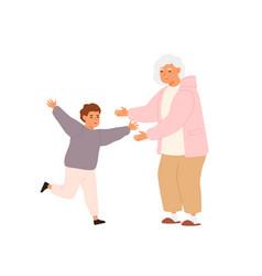 Happy little boy running to hug glad to visit vector