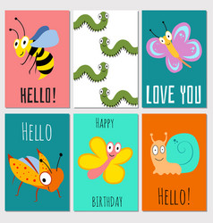 Hello happy birthday love you cards with insects vector