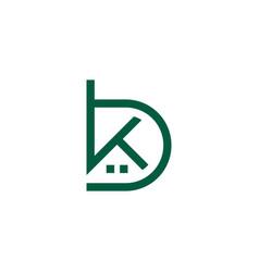 Home shape letter bk simple geometric line symbol vector