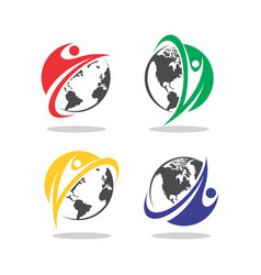 human globe earth logo vector image