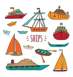 Large set of marine vessels vector image