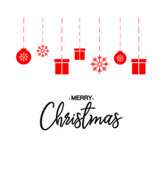 lettering merry christmas on blank background in vector image