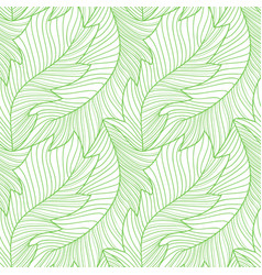 Linear engraving banana leaves seamless pattern vector