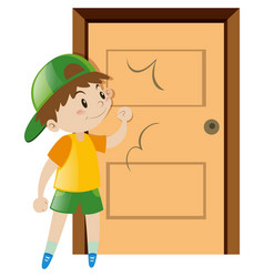 Little boy knocking on the door vector