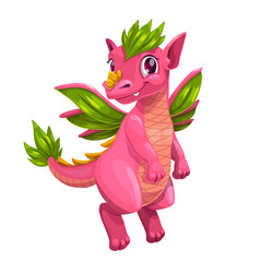 little cute cartoon pink dragon kind monster icon vector image