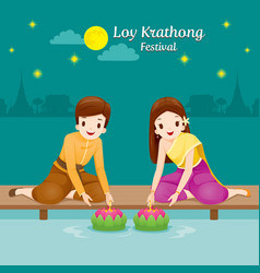 loy krathong festival couple in national costume vector image