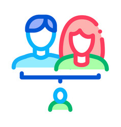 Man and woman with baby icon outline vector