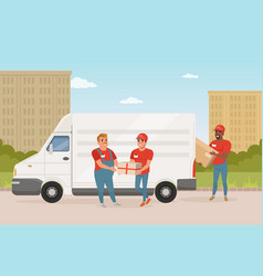 Man with mustache giving parcel to young courier vector