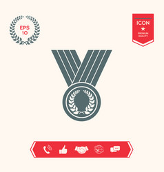 medal with laurel wreath icon vector image