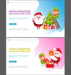 merry christmas and happy new year winter holidays vector image