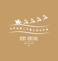 Merry christmas elements santa sleigh gold vector