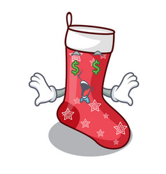 Money eye cute christmas socks isolated on mascot vector
