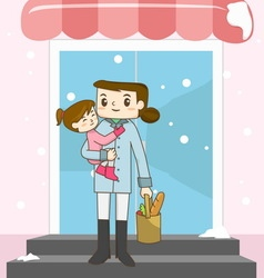 Mother holding her daughter and buying some food vector