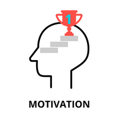 Motivation icon flat thin line vector