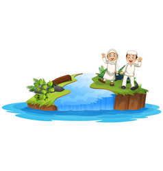 Muslim couple in nature vector