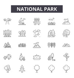 national park line icons signs set vector image