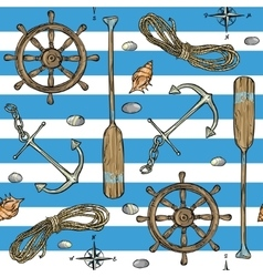 Nautical background Marine pattern vector