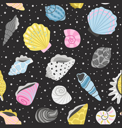 ocean seashells seamless pattern vector image