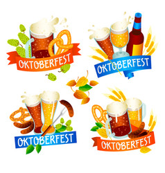 Oktoberfest banner set isometric style vector