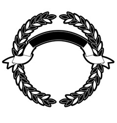 Olive branches forming a circle with ribbon on top vector