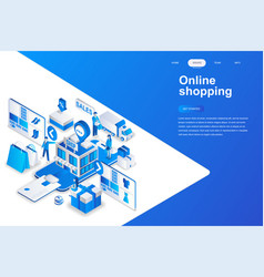 online shopping modern flat design isometric vector image