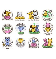 Pet badge graphic sticker set domestic vector