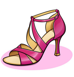 Pink woman shoe design vector