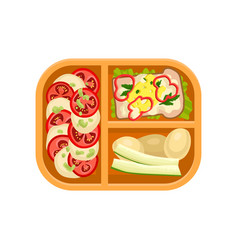 plastic tray with tasty food boiled potatoes vector image