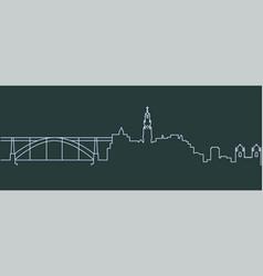 porto single line skyline vector image