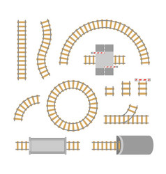 railway elements parts set vector image