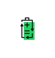 recycle rechargeable battery logo icon line vector image