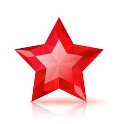 Red crystal star vector